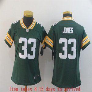 Women Green Bay Packers #33 Aaron Jones Jersey